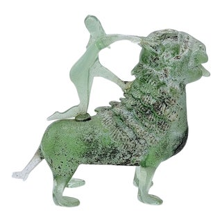 A.Ve.M. Murano Glass Sculpture of a Girl on a Lion For Sale