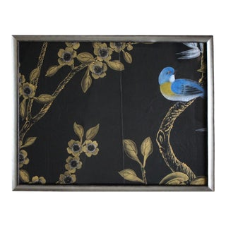 Framed Vintage Chinoiserie Black Silk Wallpaper Remnant For Sale