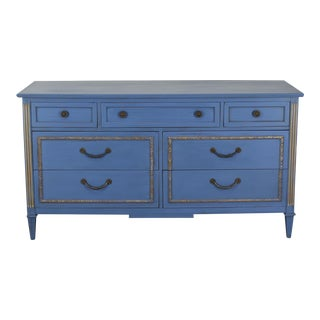 Mid Century Walnut Gustavian Style Dresser, Hand Painted Distressed Blue Buffet Sideboard Media Console, Blue Dresser For Sale