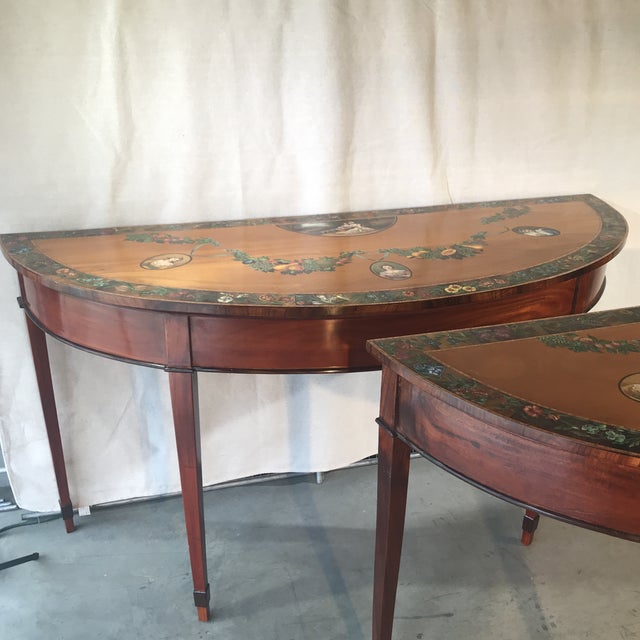 Marvelous 1920S Americana Satin Wood Handpainted Tables A Pair Machost Co Dining Chair Design Ideas Machostcouk
