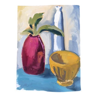 Still Life With Three Ceramic Vessels Painting For Sale