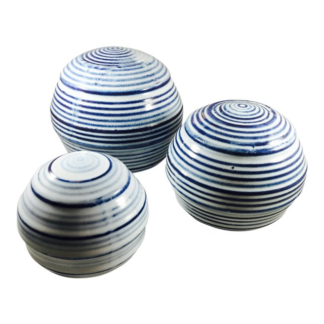Ceramic Spheres with Blue & White Stripes - 3 - Image 1 of 3