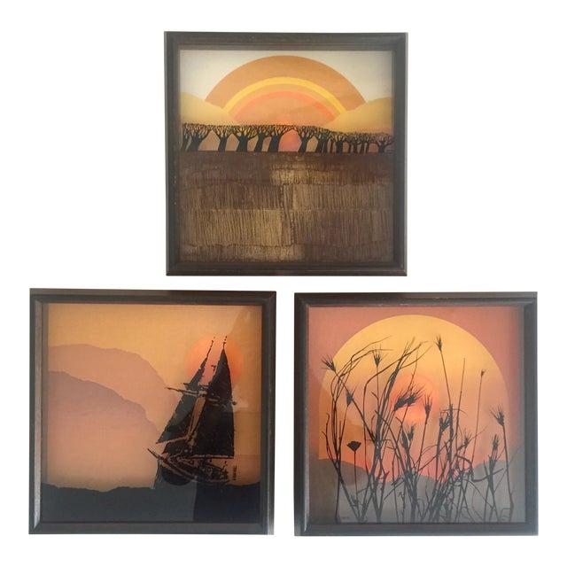 "1974 Vintage Modernist Virgil Thrasher ""Lucid Lines"" Painted Glass 3d Shadow Box Art - 3 Piece Set For Sale"