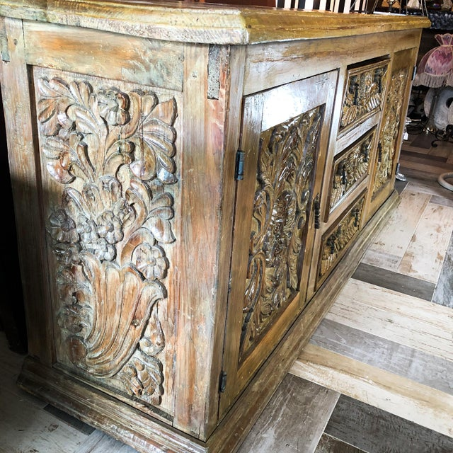 Antique Mexican Hand Carved Wood Sideboard With Cherubs and Green Man Motif For Sale - Image 9 of 11