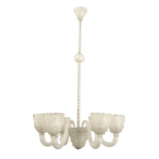 1940s Italian Venetian Chandelier With Six Scroll and Swirl Design Glass Arms For Sale