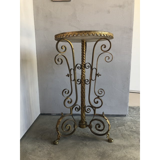 Traditional Gold Cocktail Side Table With Marble Top For Sale - Image 9 of 9