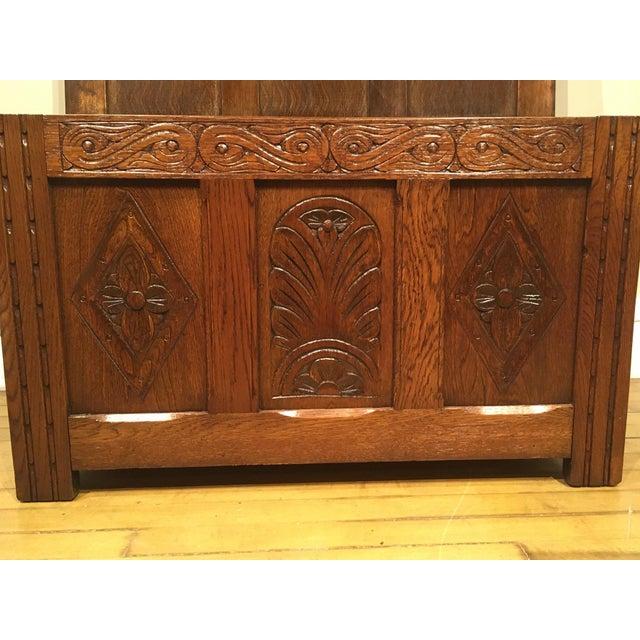 Wood 1960s Vintage Carved Oak Coffer For Sale - Image 7 of 10