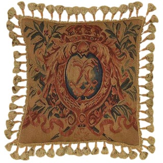 Boho Chic Aubusson French Style Crest Needlepoint Hand Stitched Throw Pillow
