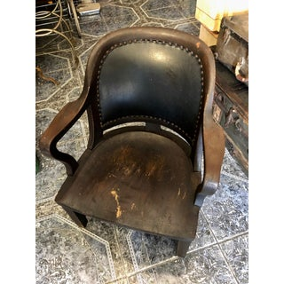 1940s Vintage Stout and Wide Wood and Leather Studded Bowed Back Reading Chair Preview