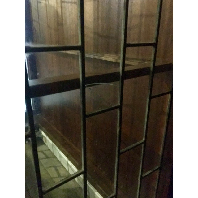 Heritage Mid-Century Modern Brass & Lead Glass Cabinet - Image 6 of 6