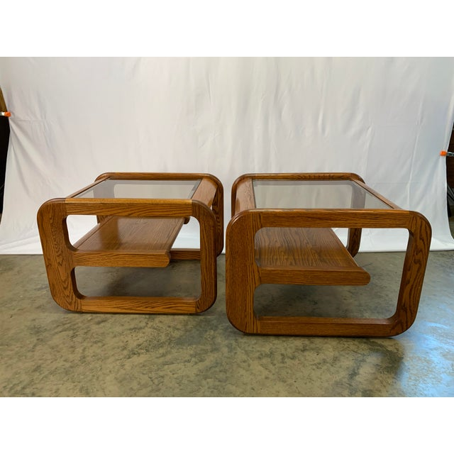 1970s Mid-Century Modern Lou Hodges Oak and Smoked Glass End Tables -- Set of 2 For Sale - Image 12 of 12