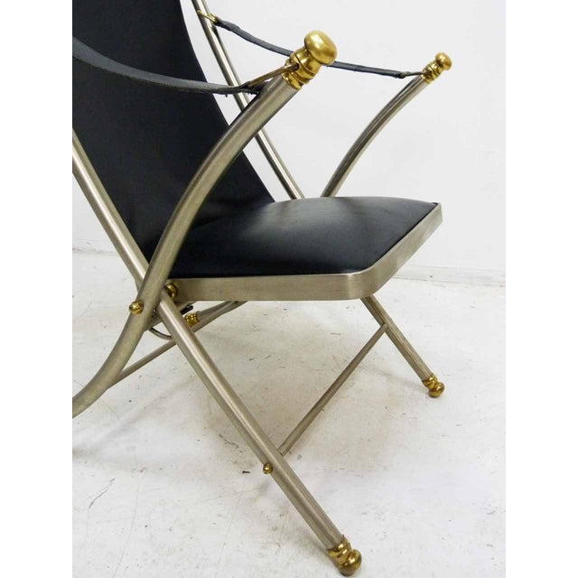Jansen Style Leather & Brass Campaign Chair - Image 7 of 10