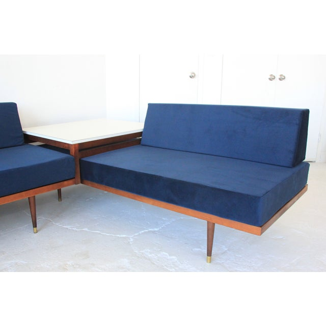 Vintage Mid Century Modern Navy Blue Sectional For Sale - Image 4 of 10
