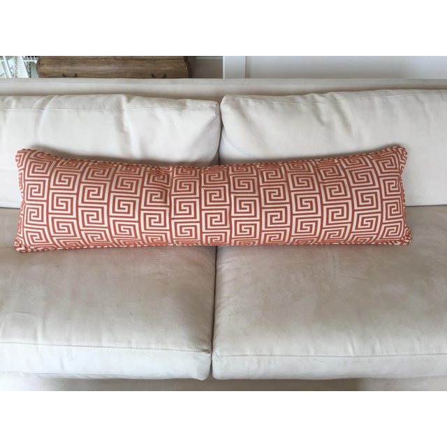 Custom Orange/Natural Fabric Extra Large Kidney Pillow - Image 7 of 8