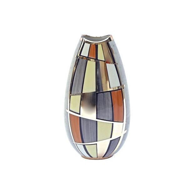 Mid-Century Mod Manfred Vehyl Silver Overlay Vase For Sale