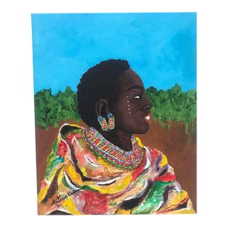 Vibrant Portrait of Woman Painting