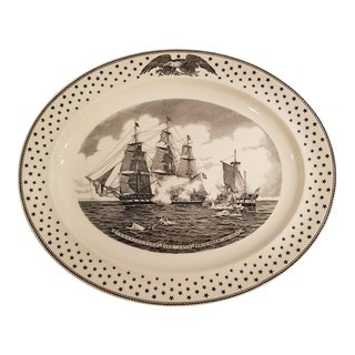 "Large Vintage Wedgewood ""Battleships Constitution and Java in Battle"" Platter For Sale"