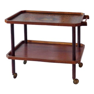 1920's Italian Two Tiered Inlayed Tea Cart For Sale