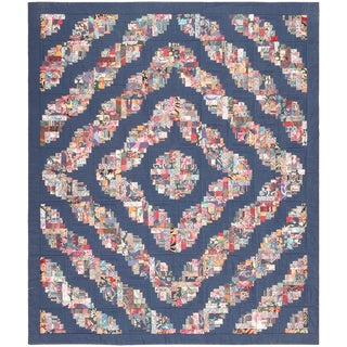 Vintage Swedish Quilt Textile - 6′ × 7′ For Sale