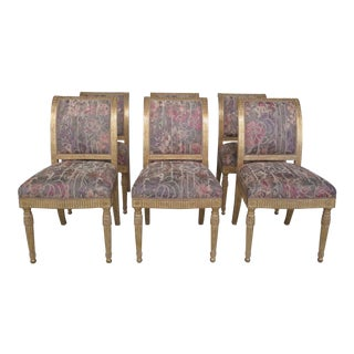 J. Robert Scott French Louis XV Style Gold Decorated Dining Room Chairs - Set of 6