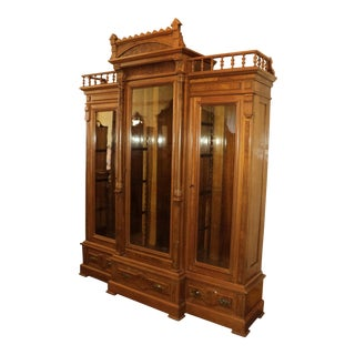 Antique Victorian Walnut 3 Door Library Bookcase For Sale