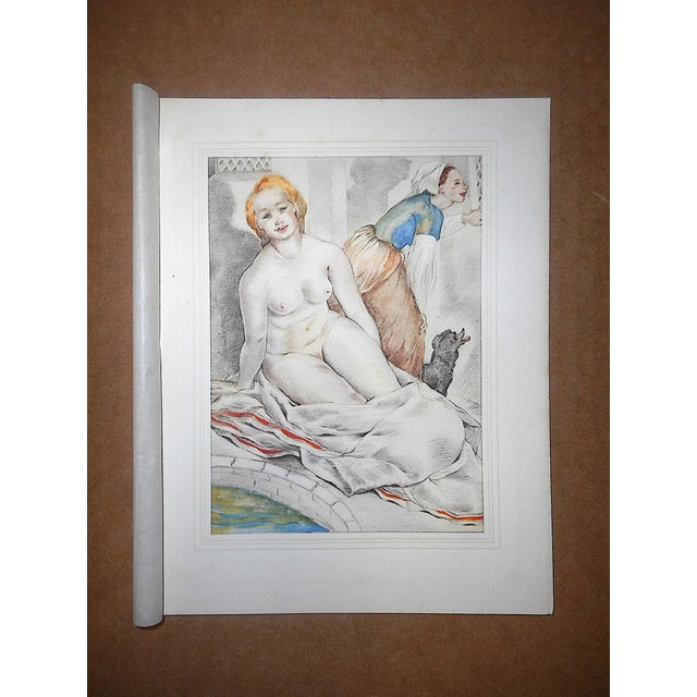1930s Vintage Hand Colored Copperplate Engravings-Mariette Lydis-Paris-Set of 4 For Sale - Image 5 of 7