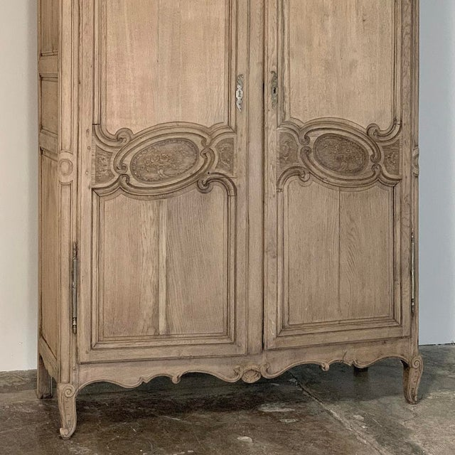 19th Century Country French Normandy Stripped Oak Armoire For Sale - Image 4 of 13