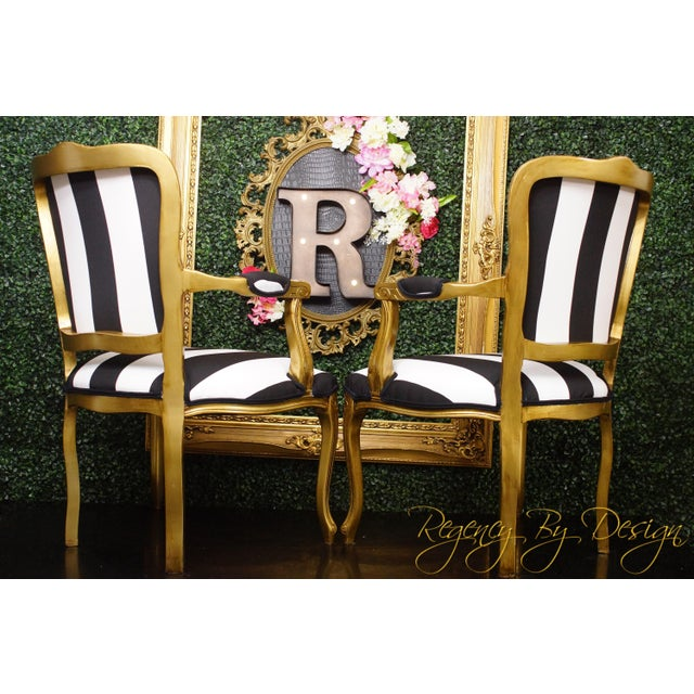 French 1970s Vintage French White and Black Stripe Gold Louis XV Chairs - a Pair For Sale - Image 3 of 4
