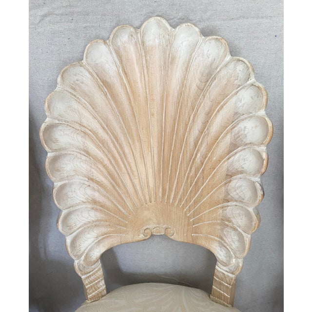 Tan Vintage Carved Back Shell Chairs- Set of 6 For Sale - Image 8 of 13