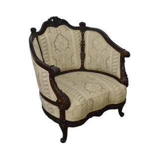 Antique Carved Walnut French Louis XV Rococo Revival Style Bergere Chair