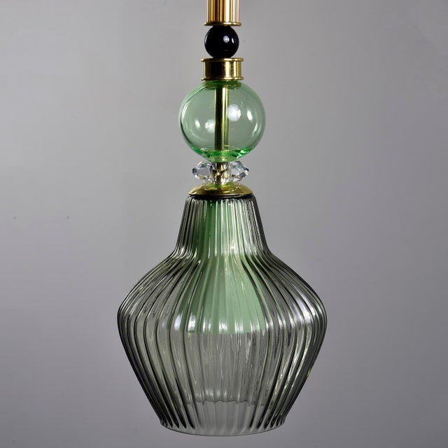 Green Murano Glass Pendant Lights - a Pair For Sale - Image 4 of 7
