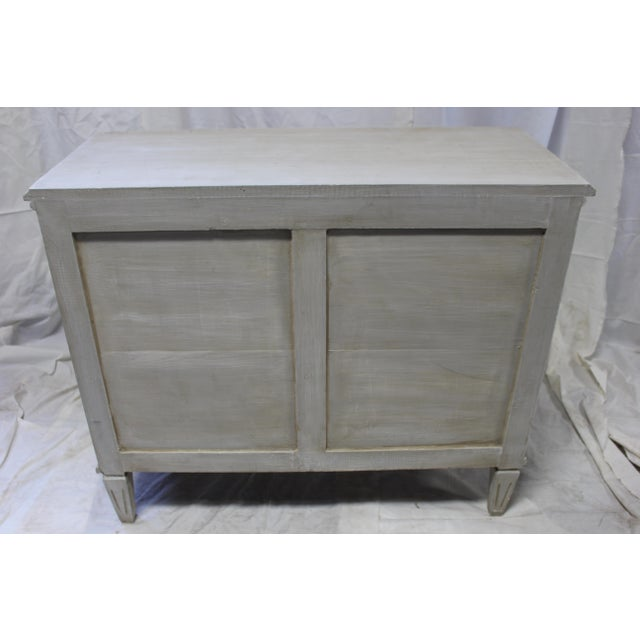 Contemporary 20th Century Gustavian Bedside Greek Key Gray Oak Chests - a Pair For Sale - Image 3 of 5