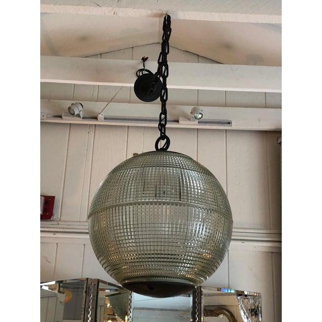 Parisian Holophane Globe Pendant Chandelier For Sale - Image 13 of 13