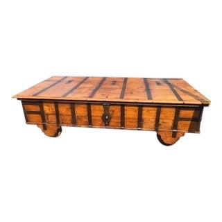 Moroccan Rustic Cart Coffee Table Trunk
