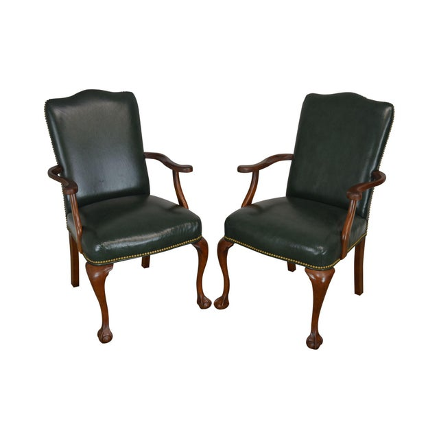 South Mark Green Leather Chippendale Style Ball & Claw Pair Armchairs (A) For Sale - Image 12 of 12