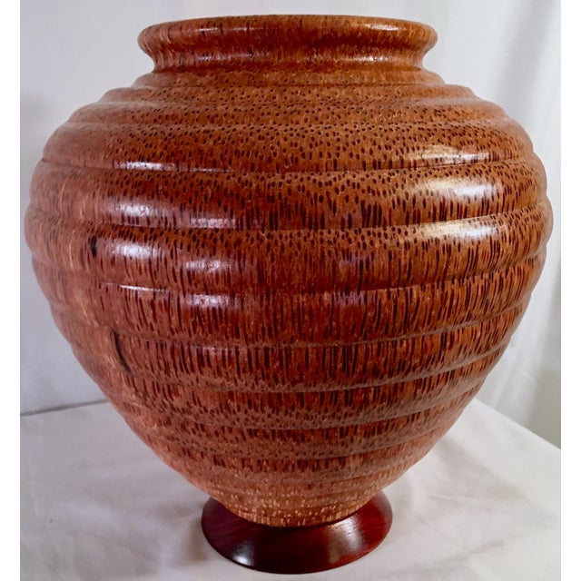 1991 Boho Chic Large Artisan Turned Bloodwood Palm Beehive Vase by John Penrod (Signed) For Sale - Image 13 of 13
