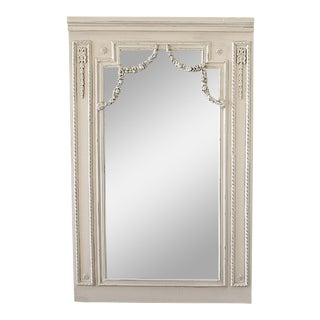 20th Century Wood Trumeau Style Carved and Painted Mirror For Sale