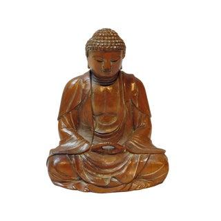 Detail Handcrafted Boxwood Meditation Gautama Shakyamuni Buddha Statue For Sale