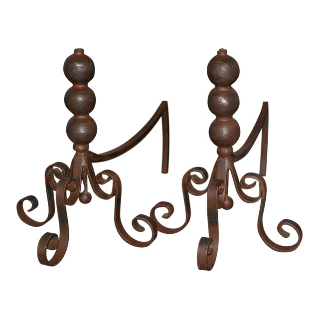 Pair of Jan Barboglio Wrought Iron Andirons For Sale