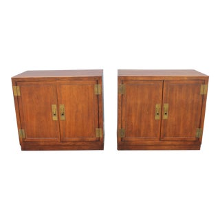 1950s Campaign Wooden Nightstands - a Pair For Sale