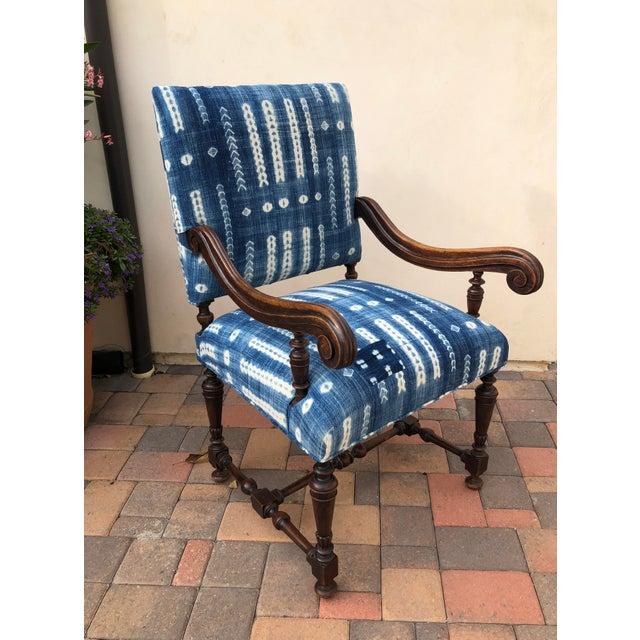 Antique Jacobean-Style Mahogany Mali Indigo Upholstered Armchair - Image 3 of 11
