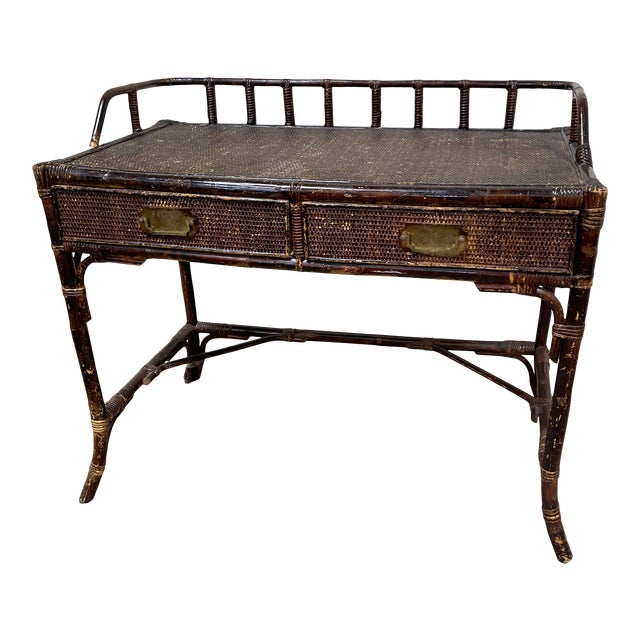 Vintage Bamboo Writing Desk For Sale