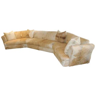Steve Chase Attributed Cowhide Covered Curved Sofa, Pond Estate of Palm Springs