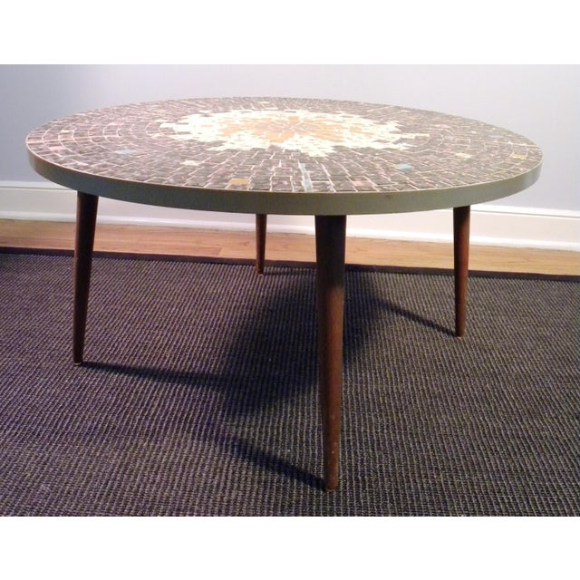 Vintage Mid Century Mosaic Coffee Cocktail Accent Table - Image 4 of 7