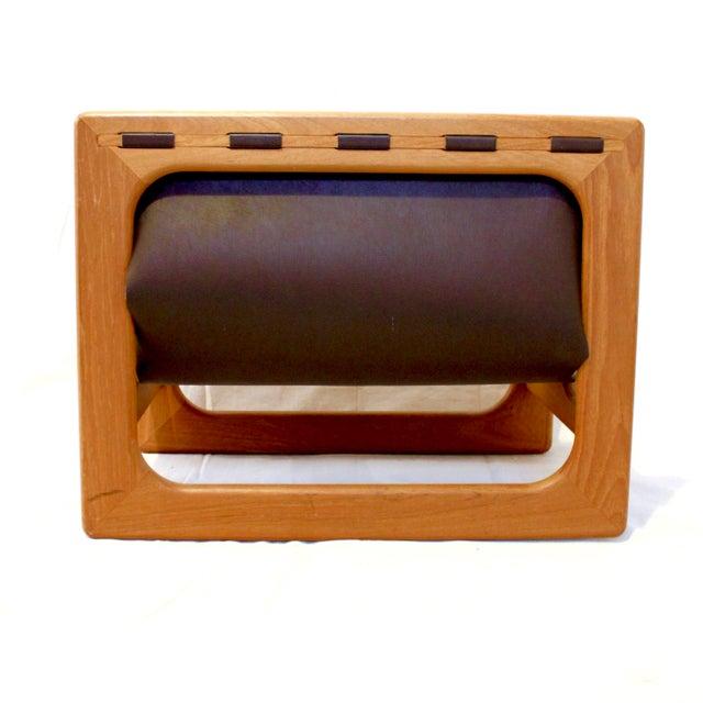 Vintage Mid-Century Salin Mobler Danish Modern Teak and Leather Magazine Rack For Sale In Sacramento - Image 6 of 8