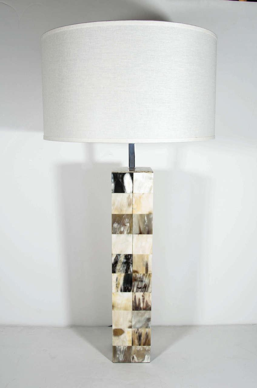 Mosaic Genuine Horn Table Lamp In The Style Of Karl Springer   Image 2 Of 8