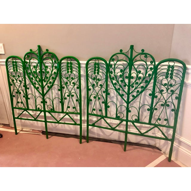 Vintage Boho Chic Wicker Emerald Green Twin Headboards - a Pair For Sale - Image 10 of 10