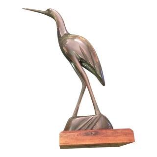 Mid-Century Hand Carved Heron Crane