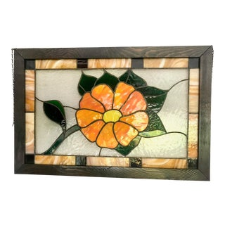 Vintage Stained Glass Window Transom For Sale