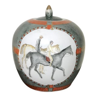 Vintage Chinoiserie Hand Painted Equestrian Ginger Temple Jar For Sale